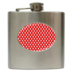 Red Circular Pattern Hip Flask (6 Oz) by AnjaniArt