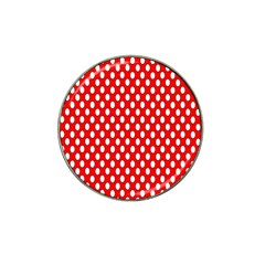Red Circular Pattern Hat Clip Ball Marker (10 Pack) by AnjaniArt