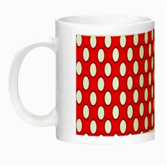 Red Circular Pattern Night Luminous Mugs by AnjaniArt