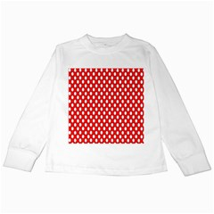 Red Circular Pattern Kids Long Sleeve T Shirts by AnjaniArt