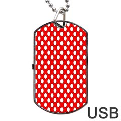 Red Circular Pattern Dog Tag Usb Flash (one Side) by AnjaniArt