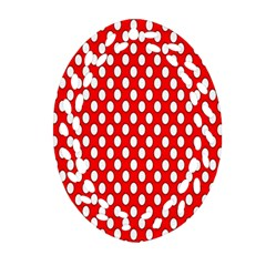 Red Circular Pattern Oval Filigree Ornament (2-Side)  by AnjaniArt
