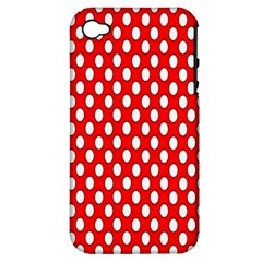 Red Circular Pattern Apple Iphone 4/4s Hardshell Case (pc+silicone) by AnjaniArt