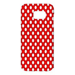 Red Circular Pattern Samsung Galaxy S7 Edge Hardshell Case by AnjaniArt