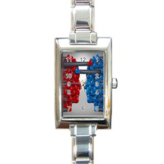 Red Boxing Gloves And A Competing Rectangle Italian Charm Watch by AnjaniArt