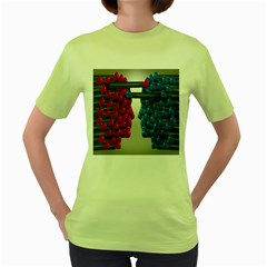 Red Boxing Gloves And A Competing Women s Green T Shirt by AnjaniArt