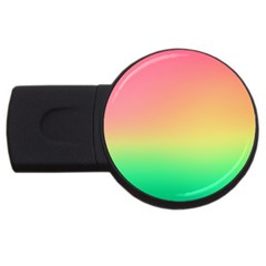 The Walls Pink Green Yellow Usb Flash Drive Round (2 Gb)  by AnjaniArt