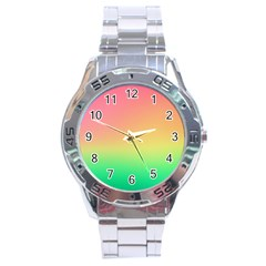 The Walls Pink Green Yellow Stainless Steel Analogue Watch by AnjaniArt