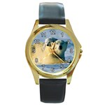 POLAR BEAR CUB & MOTHER ROUND GOLD METAL WATCH
