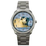 POLAR BEAR CUB & MOTHER CLASSY SILVERTONE SPORT WATCH