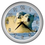 POLAR BEAR CUB & MOTHER WALL CLOCK (SILVER)