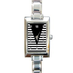 Black & White Stripes Big Triangle Rectangle Italian Charm Watch by EDDArt