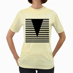Black & White Stripes Big Triangle Women s Yellow T Shirt by EDDArt