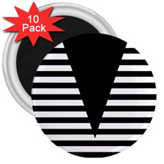 Black & White Stripes Big Triangle 3  Magnets (10 Pack)  by EDDArt