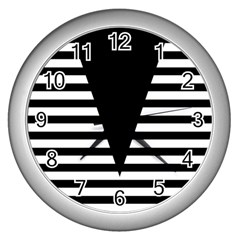 Black & White Stripes Big Triangle Wall Clocks (silver)  by EDDArt