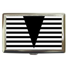 Black & White Stripes Big Triangle Cigarette Money Cases by EDDArt