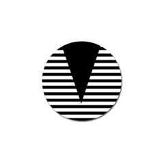 Black & White Stripes Big Triangle Golf Ball Marker (4 Pack) by EDDArt