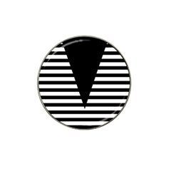 Black & White Stripes Big Triangle Hat Clip Ball Marker (10 Pack) by EDDArt