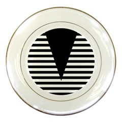 Black & White Stripes Big Triangle Porcelain Plates by EDDArt