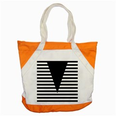 Black & White Stripes Big Triangle Accent Tote Bag by EDDArt