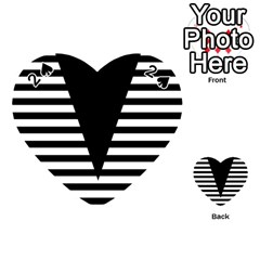 Black & White Stripes Big Triangle Playing Cards 54 (heart)  by EDDArt