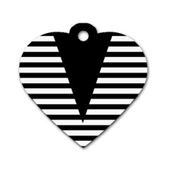 Black & White Stripes Big Triangle Dog Tag Heart (two Sides) by EDDArt