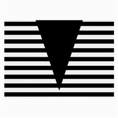Black & White Stripes Big Triangle Large Glasses Cloth (2 Side) by EDDArt