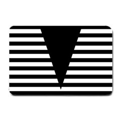 Black & White Stripes Big Triangle Small Doormat  by EDDArt