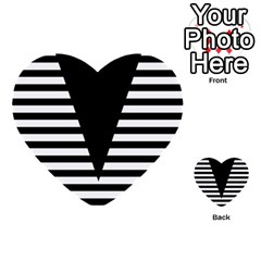 Black & White Stripes Big Triangle Multi Purpose Cards (heart)  by EDDArt