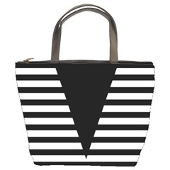 Black & White Stripes Big Triangle Bucket Bags by EDDArt