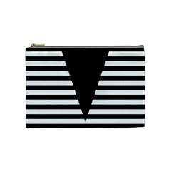 Black & White Stripes Big Triangle Cosmetic Bag (medium)  by EDDArt