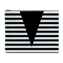 Black & White Stripes Big Triangle Cosmetic Bag (xl) by EDDArt