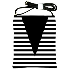 Black & White Stripes Big Triangle Shoulder Sling Bags by EDDArt