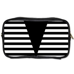 Black & White Stripes Big Triangle Toiletries Bags 2 Side by EDDArt