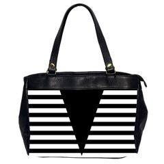 Black & White Stripes Big Triangle Office Handbags (2 Sides)  by EDDArt