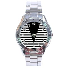 Black & White Stripes Big Triangle Stainless Steel Analogue Watch by EDDArt