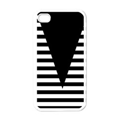 Black & White Stripes Big Triangle Apple Iphone 4 Case (white) by EDDArt
