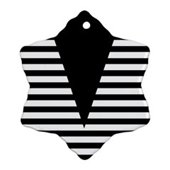 Black & White Stripes Big Triangle Ornament (snowflake)  by EDDArt