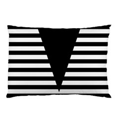 Black & White Stripes Big Triangle Pillow Case (two Sides) by EDDArt