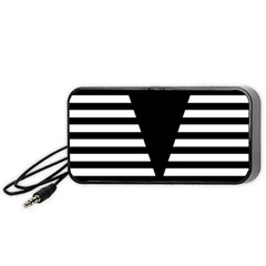 Black & White Stripes Big Triangle Portable Speaker (black)  by EDDArt