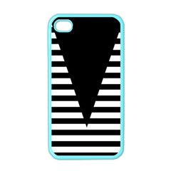 Black & White Stripes Big Triangle Apple Iphone 4 Case (color) by EDDArt