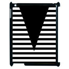 Black & White Stripes Big Triangle Apple Ipad 2 Case (black) by EDDArt