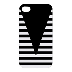 Black & White Stripes Big Triangle Apple Iphone 4/4s Hardshell Case by EDDArt