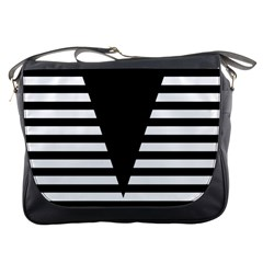 Black & White Stripes Big Triangle Messenger Bags by EDDArt
