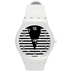 Black & White Stripes Big Triangle Round Plastic Sport Watch (m) by EDDArt