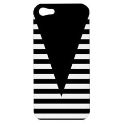Black & White Stripes Big Triangle Apple Iphone 5 Hardshell Case by EDDArt