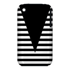 Black & White Stripes Big Triangle Iphone 3s/3gs by EDDArt