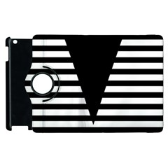 Black & White Stripes Big Triangle Apple Ipad 2 Flip 360 Case by EDDArt