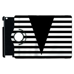 Black & White Stripes Big Triangle Apple Ipad 3/4 Flip 360 Case by EDDArt