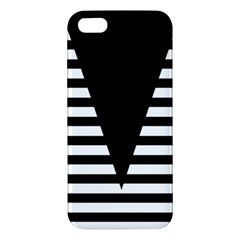 Black & White Stripes Big Triangle Apple Iphone 5 Premium Hardshell Case by EDDArt